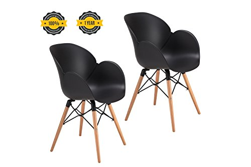 41Z0rusBf3L - OTTITI-FLOWER-Dining-Chairs-Eames-Style-modern-Mid-Century-Dining-Room-Chairs-Wooden-Legs-Lounge-Arm-Chairs-Set-of-2-Black-2P