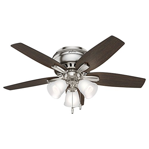 Hunter Indoor Low Profile Ceiling Fan, with pull chain control – Newsome 42 inch, Brushed Nickel, 51079