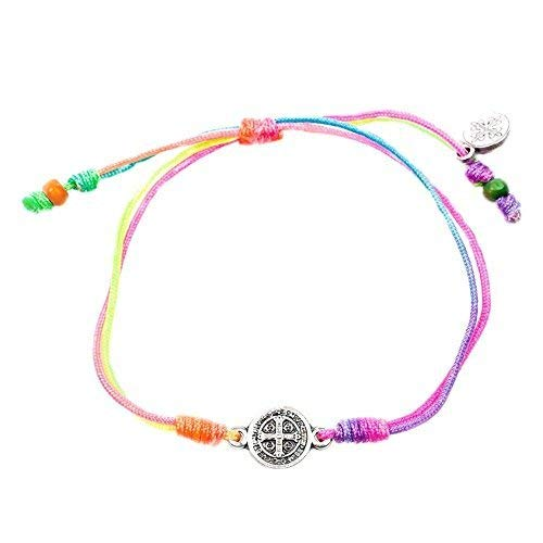 My Saint My Hero Breathe Blessing Bracelet - Silver-Plated Medal on Rainbow Hand-Woven -