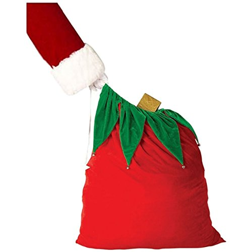 GSG Velvet Santa Bag with Bells Costume Accessory Adult Claus Toy Sack -