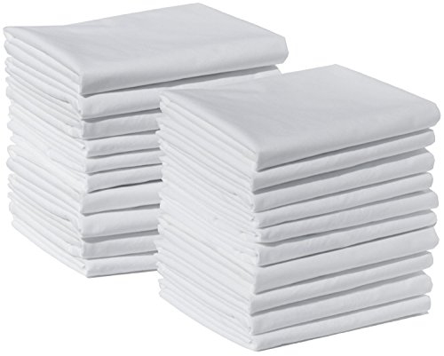 20 Brushed Microfiber Pillowcases Bulk Wholesale Pack Wrinkle-free, Maximum Softness, and Easy Care by American Pillowcase (White, Standard, 20 Pack)