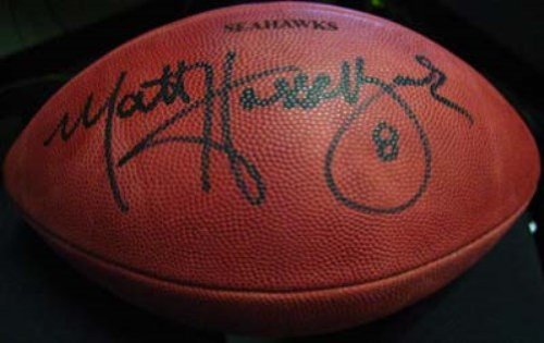 MATT HASSELBECK AUTOGRAPHED OFFICIAL NFL LEATHER FOOTBALL SEATTLE SEAHAWKS MCS HOLO STOCK - Hasselbeck Football Matt