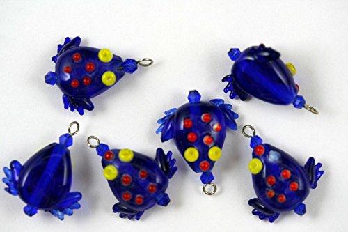 Tropical Design Blue Frog Lampwork Glass Bead (Pack of 6)