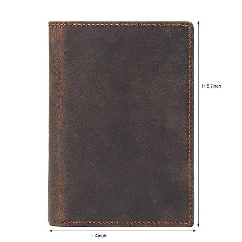 Texbo RFID Blocking Full Grain Cowhide Leather Passport Holder Card Case Travel Wallet (Dark Brown) by Texbo (Image #1)
