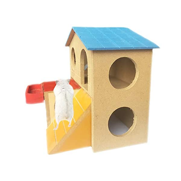 kathson Pet Small Animal Hideout Hamster House with Funny Climbing Ladder Deluxe Two Layers Wooden Hut Play Toys Chews for Small Animals Like Dwarf Hamster and Mouse 2
