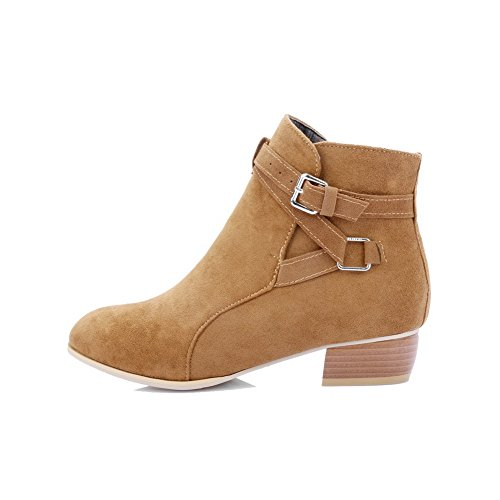 AgooLar Women's Low-Heels PU Solid Buckle Round-Toe Boots Brown xn49Oboh
