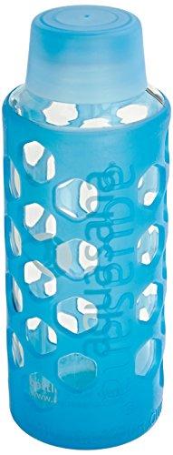 UPC 816749010473, Aquasana AQ-6006-BLU-TR 18-Ounce Glass Water Bottle with Silicone Sleeve, Blue