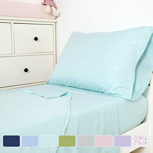 TILLYOU 3-Piece Microfiber Toddler Sheet Set (Aqua, Fitted Sheet, Top Flat Sheet and Envelope Pillowcase) - Silky Soft Crib Sheets Set Toddler Bed Set - Baby Bedding Sheet & Pillowcase (Bedding Aqua Toddler)