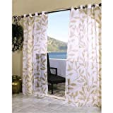 1pc 84 Outdoor Khaki Color Leaf Sheer Gazebo Curtain, Cabana Polyester, Patio Porch Deck Entrance Door Grommet Doorway Pergola Drapes, Brown Outside Window Treatment Single Panel