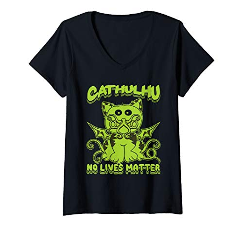 Womens Praise Cathulhu Kitten Evil Demon Cat Kraken Monster Octopus V-Neck T-Shirt]()