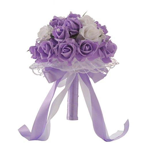 Lavender Wedding Bouquet - ZTTONE Wedding Bouquet, Crystal Roses Bridesmaid Wedding Bouquet Bridal Artificial Silk Flowers (Purple)