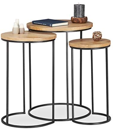 Hot Koop Relaxdays Bijzettafelset van 3, ronde legplanken, tafeltjes in 3 maten, in elkaar te zetten, metaal en mangohout, naturel  rH1l7gt