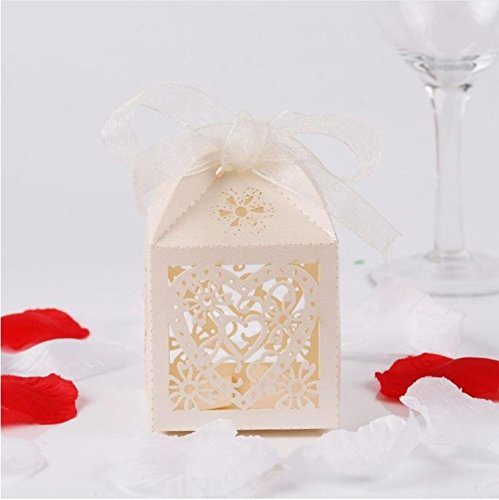 [Ivory Heart] 50pcs Wedding Favors Candy Box Paper Laser Cut Gift Boxes For Guests Mr Mrs Love Heart Party Decoration Candy Bar