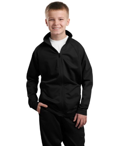 Pant Up Warm Unisex Varsity - Sport-Tek - Youth Tricot Track Jacket. - Black/Black - XS