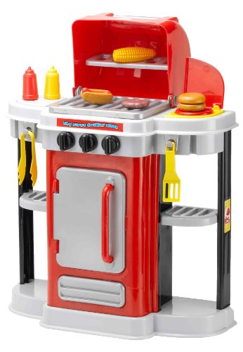 My First Grillin BBQ Complete Kids Playset By Amloid I BBQ, Play Food & Utensils Included