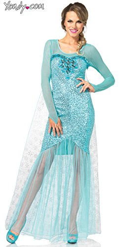 [Leg Avenue Women's Fantasy Snow Queen Elsa Costume, Aqua, Large] (Elsa Dress Women)