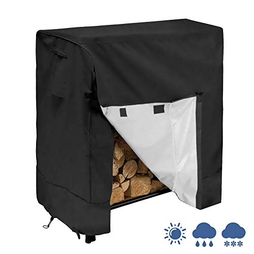 (IC ICLOVER Log Rack Cover, Heavy Duty Waterproof [4 Feet] Firewood Rack Snow Protector with Duarble Fabric Fits for 4 Seasons, L48xW26xH43 Inces)