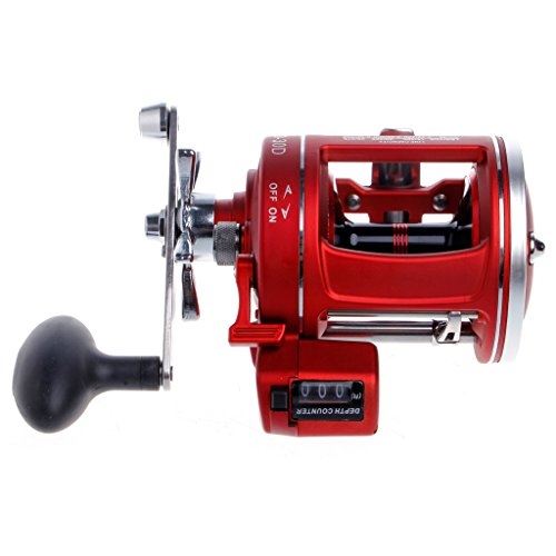 Oranmay Aluminium Alloy 12BB Bearings Baitcasting Fishing Reel Line Wheel Counter Trolling Casting Drum (Red) (30D Right hand)