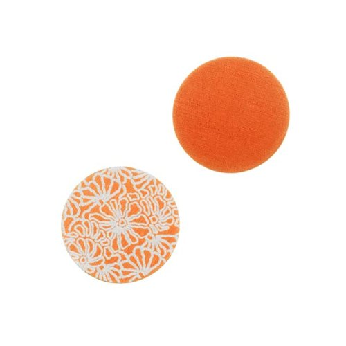 Circle Stamping Orange W/ Art Deco Flowers 16mm (2) (Lillypilly Aluminum Circle)