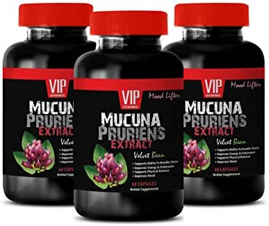 Brain and Memory Power Boost - MUCUNA PRURIENS Extract 350 MG - antioxidant Vitamins for Women - 3 Bottles 180 Capsules