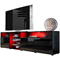 TV Stand Roma Matte Body High Gloss Doors Modern TV Stand LED (Black)
