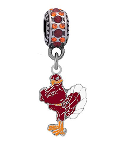 Final Touch Gifts Virginia Tech Hokie Bird Charm Fits European Style Large Hole Bead Bracelets