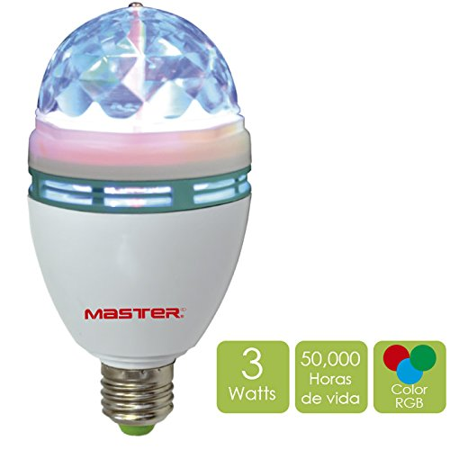 Master- Foco luminioso, decorativo multicolor produce efecto de luz tipo disco ideal para animar fiestas, reuniones o eventos...