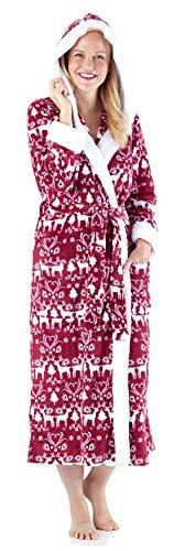 Frankie & Johnny Women's Sleepwear Fleece Sherpa-Lined Hooded Robe, Cranberry Winter (FJ1447-1052-MED) -