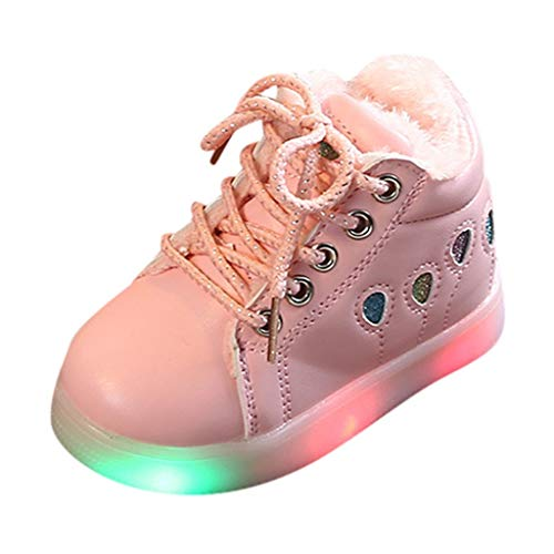 Mayunn Toddler Baby Girls Winter Warm Ballon Sequins Zip Led Light Luminous Boots Shoes Sneakers (15Months-6Years) (Michael Sneakers Mens Kors)