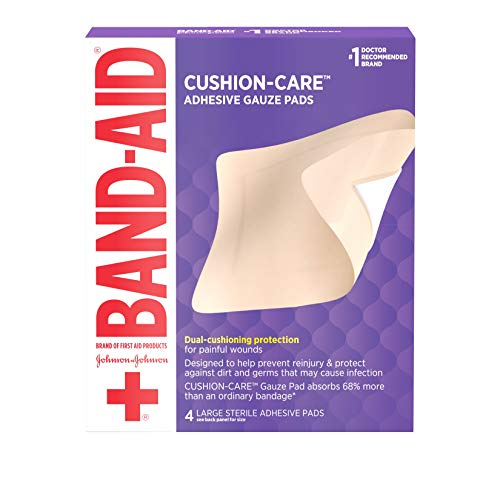 Band-Aid Brand of First Aid Cushion-Care Adhesive Gauze Pad, Large, 4.5in x 5.5in, 4 ct