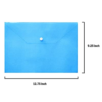 Plastic Envelopes - 24 Pack Poly Envelope with Snap Button Closure Plastic Folders Premium Quality Document Folder A4 Size