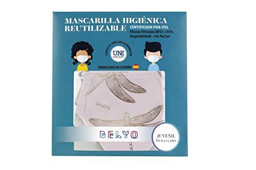 """41Z0x OU83L Mascarilla higiénica reutilizable certificada y homologada con normativa UNE0065:2020. Certificada por ITEL (Instituto Técnico Español de Limpieza). Eficacia de filtración >93% (""""Ensayo BFE"""") y de Respirabilidad >46 Pa/cm2 (Presión diferencial). Tejido hidrofobo y anti bacteriano. Mascarilla compuesta en un 65% algodon, 35% polyester, lavable (hasta 20 lavados a 60 grados con jabon neutro), cómoda y segura"""