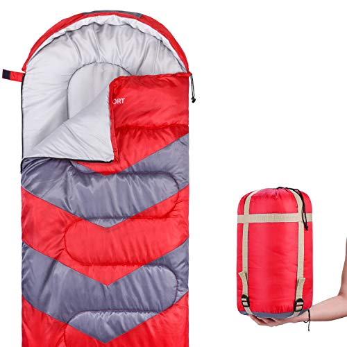 Abco Tech Sleeping Bag - Envelope Lightweight Portable, Waterproof, Comfort with Compression Sack - Great for 4 Season Traveling, Camping, Hiking, Outdoor Activities and Boys. (Single) (Red)