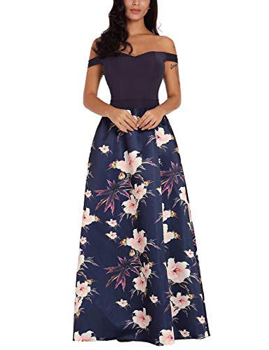 Kalin Sweetheart Neck Bodice Sexy Evening Gowns High Low Off The Shoulder Floral Maxi Long Dresses Purple