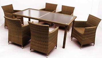 Amazonde Sitzgruppe Polyrattan Gartenmöbel 1 Tisch 6 Stühle Club