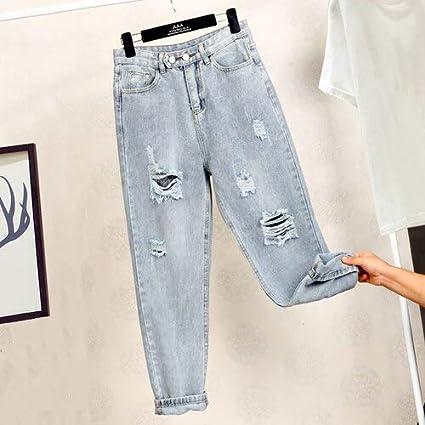 Qmglbg Nuevo Otono Invierno Mujer Moda Casual Pantalones De Mezclilla Boyfriend Deshilachados Jeans Rasgados Para Mujeres Estilo Callejero Amazon Es Hogar