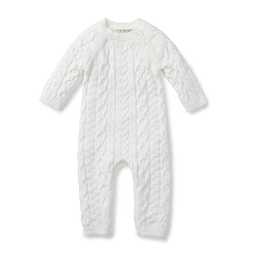 Knit Baby Layette (Hope & Henry Layette White Cable Knit Sweater Romper Made with Organic Cotton)