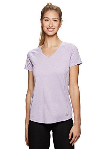 RBX Active Women's Space Dye V-Neck Short Sleeve Top Purple M