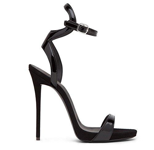 Banquetes Sandalias Zapatos Moda Grande Para 34 45 Stiletto Black Tamaño Heels Tacón Nvxie De Alto UZpAfPwx