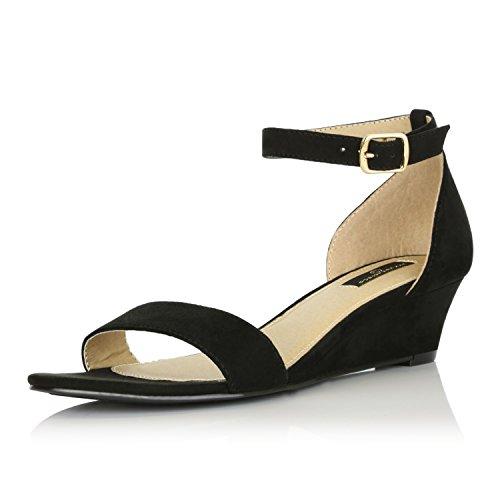 Ankle Strap Low Platform Shoe - DailyShoes Women Wedge Low Heel Ankle Strap Fashion Sandal Shoes, Black SV, 6.5 B(M) US