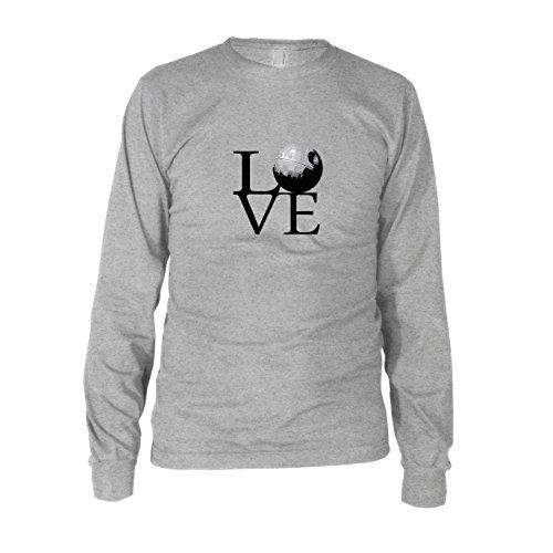 Todesstern Love - Herren Langarm T-Shirt, Größe: XL, Farbe: grau meliert