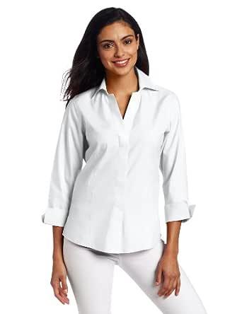 Foxcroft Women's Hidden Placket Shirt, White, 4