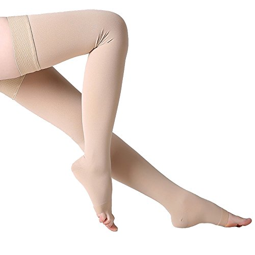 Thigh High Compression Stockings, Open Toe, Firm Support 20-30 mmHg Gradient Compression Socks with Silicone Band, Opaque, Best for Treatment Swelling, Varicose Veins, Edema, Pregnancy, Beige L ()