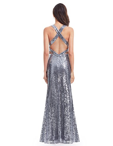 Vestidos Gris De pretty Mujer Vestido Para Lentejuelas Noche Cuello 7109 Ever Fiesta V Profundo Largo E6qxwd55
