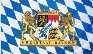 Top Qualität - Flagge BAYERN MIT LÖWENWAPPEN Bavaria Löwe Fahne, 250 x 150 cm, EXTREM REIßFEST, Keine BILLIG-CHINAWARE, Stoffgewicht ca. 100 g/m², sehr robust, extra starke Messing-Ösen - mehrfach umlaufend genäht, ideal als Hissflagge Hissfahne für Innen/Außen, für Haus, Garten zur Deko