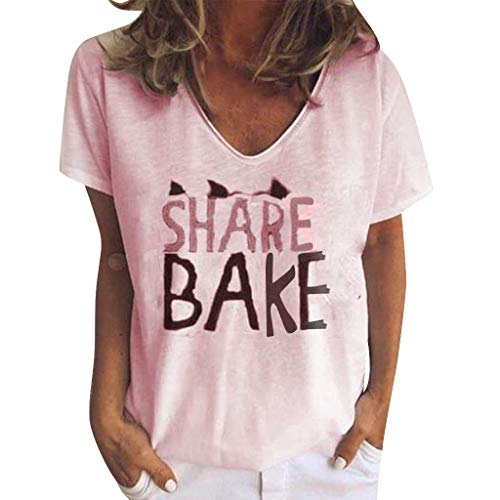 (vermers Women Summer Share Bake Letters Printing Short Sleeve T Shirts Blouse Casual Loose O-Neck Tees Tunic Tops(XL, Pink))