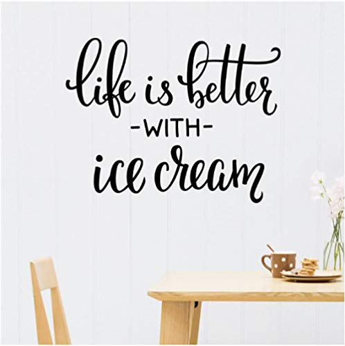 Interior Home Ice Cream Art Vinyl Wall Decal Quotes Life is Better with Ice Cream Wall Stickers for Kids Rooms Nursery 32x42cm