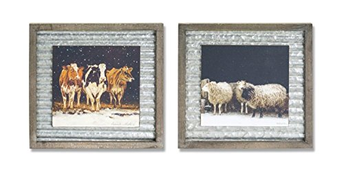 Diva Sheer - Diva At Home Set of 2 Assorted Gray Cow and Sheer Decorative Metal Square Plaque 18