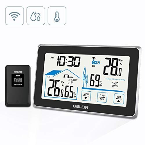 BACKTURE Station Météo, Intérieure/Extérieure Thermomètre Hygromètre avec sans Fil Capteur, LED Ecran Horloge Numérique pour Moniteur Température Humidité (Noir)