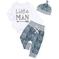 Newborn Baby Boy Clothes Crew Letter Print Romper+Long Pants+Hat 3PCS Outfits Set